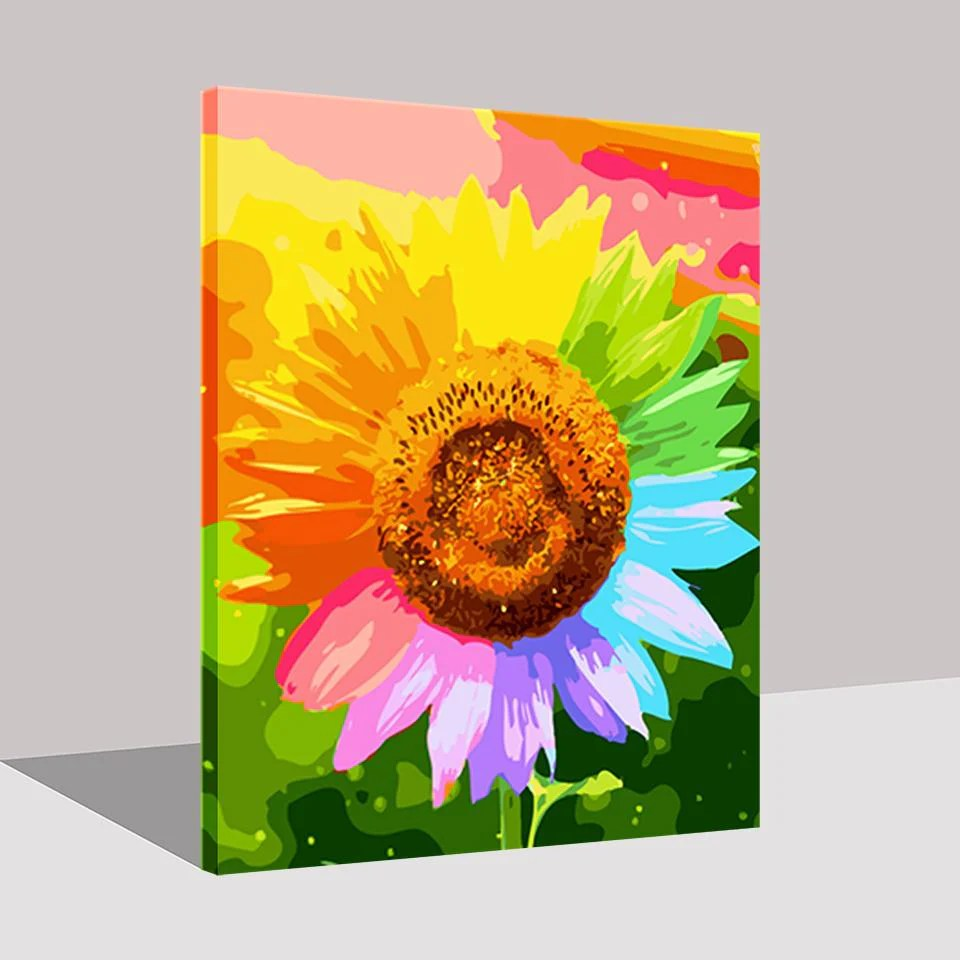 colorful sunflower abstract diy
