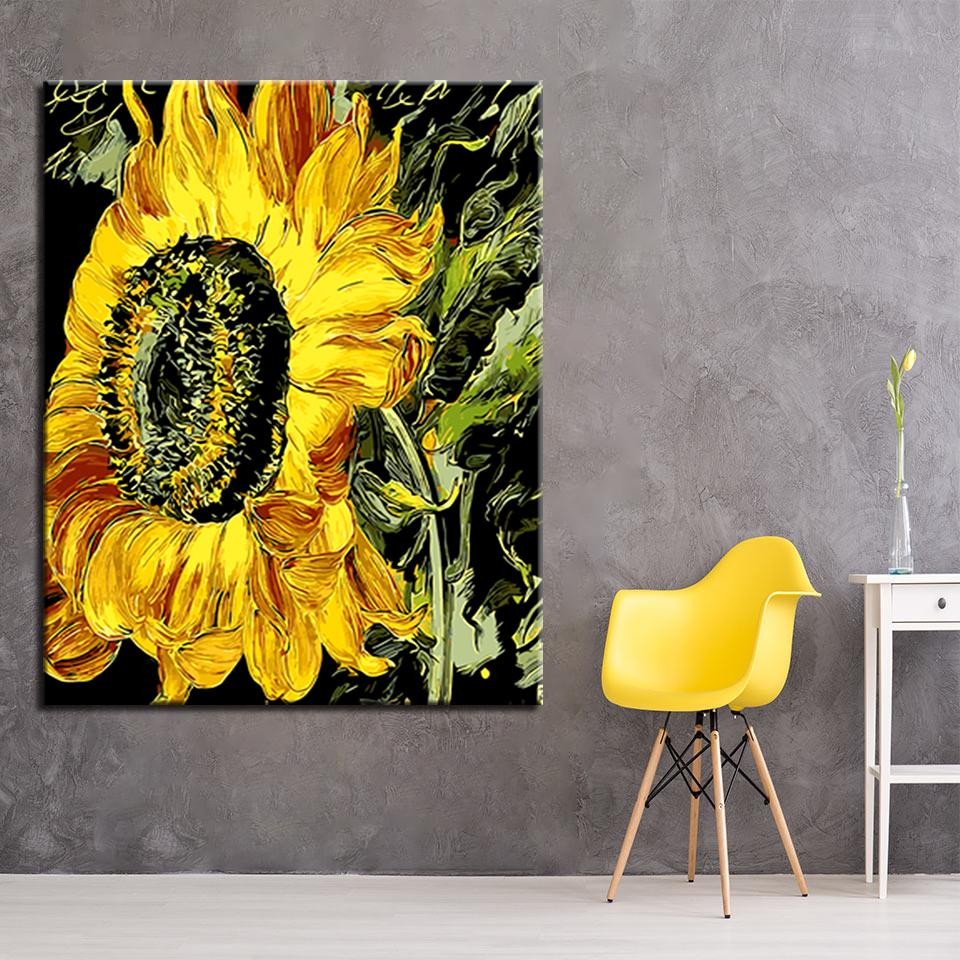 Wall Sunflower Diy Painting By Numbers Kit