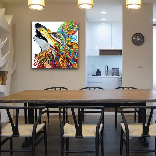 colorful mandala wolf canvas