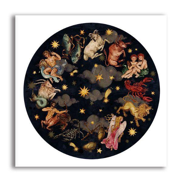 Zodiac Circle Canvas Wall Art Galaxy Wall Decor
