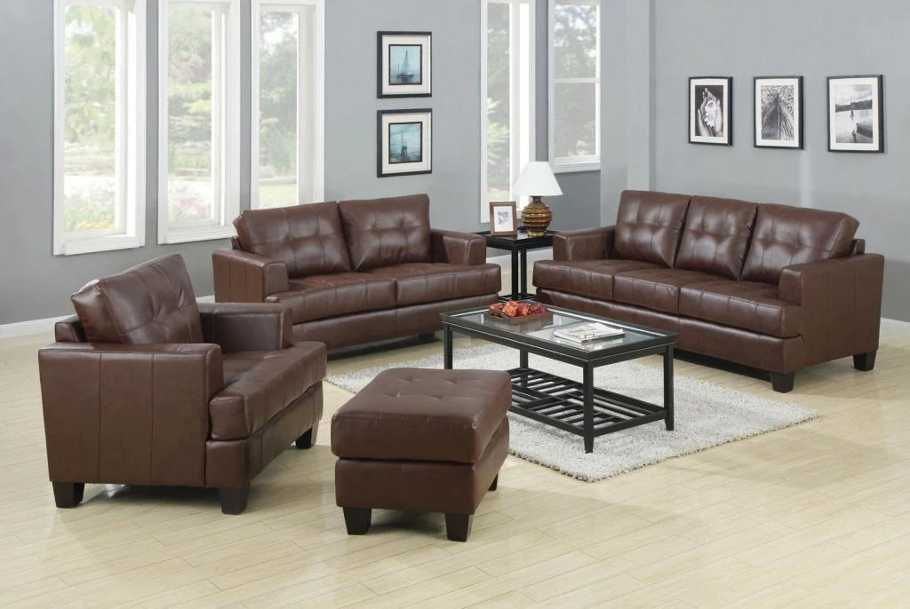 2 piece brown leather sofa pottery barn buchanan sleeper review toronto tufted bonded set west egg
