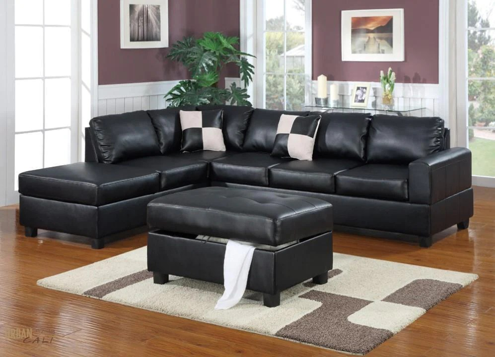 cheap black leather sectional sofas sofa redondo para jardim urban cali sacramento bonded with chaise 3 colours left facing by