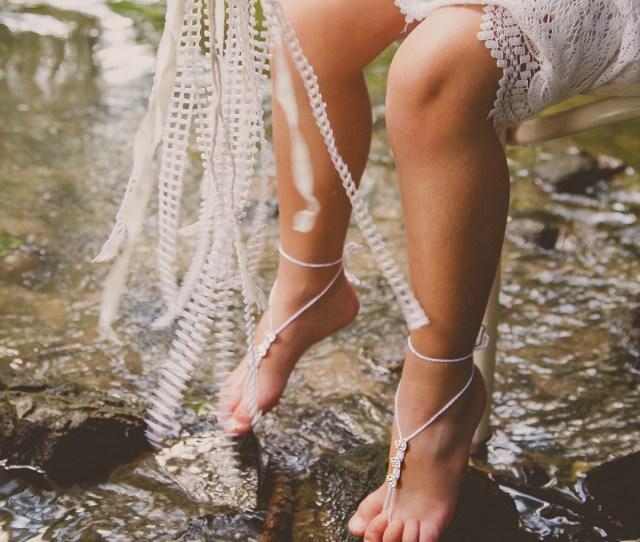 Girls Barefoot Sandals Swarovski Crystals Foot Jewelry Modern Crochet Club