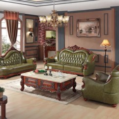 Wood Frame Living Room Furniture Light Brown Leather Luxury European Sofa Set China Wooden Sectional Green 1