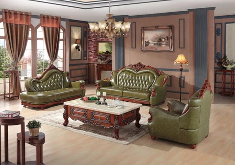 leather sofa sets for living room bay window curtain ideas luxury european set china wooden frame sectional green 1