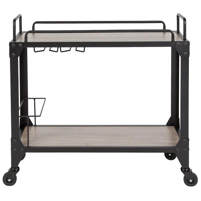 kitchen serving cart modern outdoor midtown wood and iron bar with wine glass holders