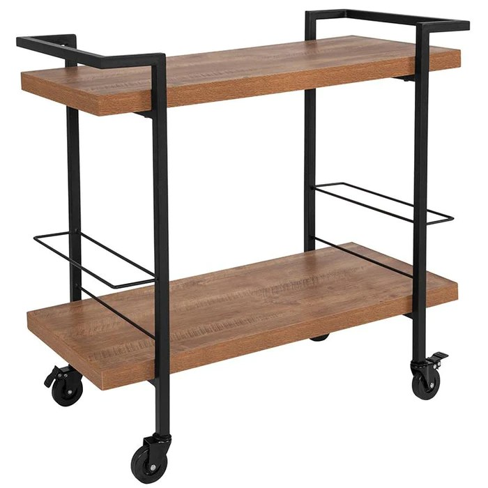 kitchen serving cart sliding cabinet doors castleberry wood grain and iron bar flash furniture