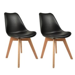 Eames Style Plastic Chair Wine Cork Set Of 2 Molded Side Chairs Pu Padded Modern Natural Wood