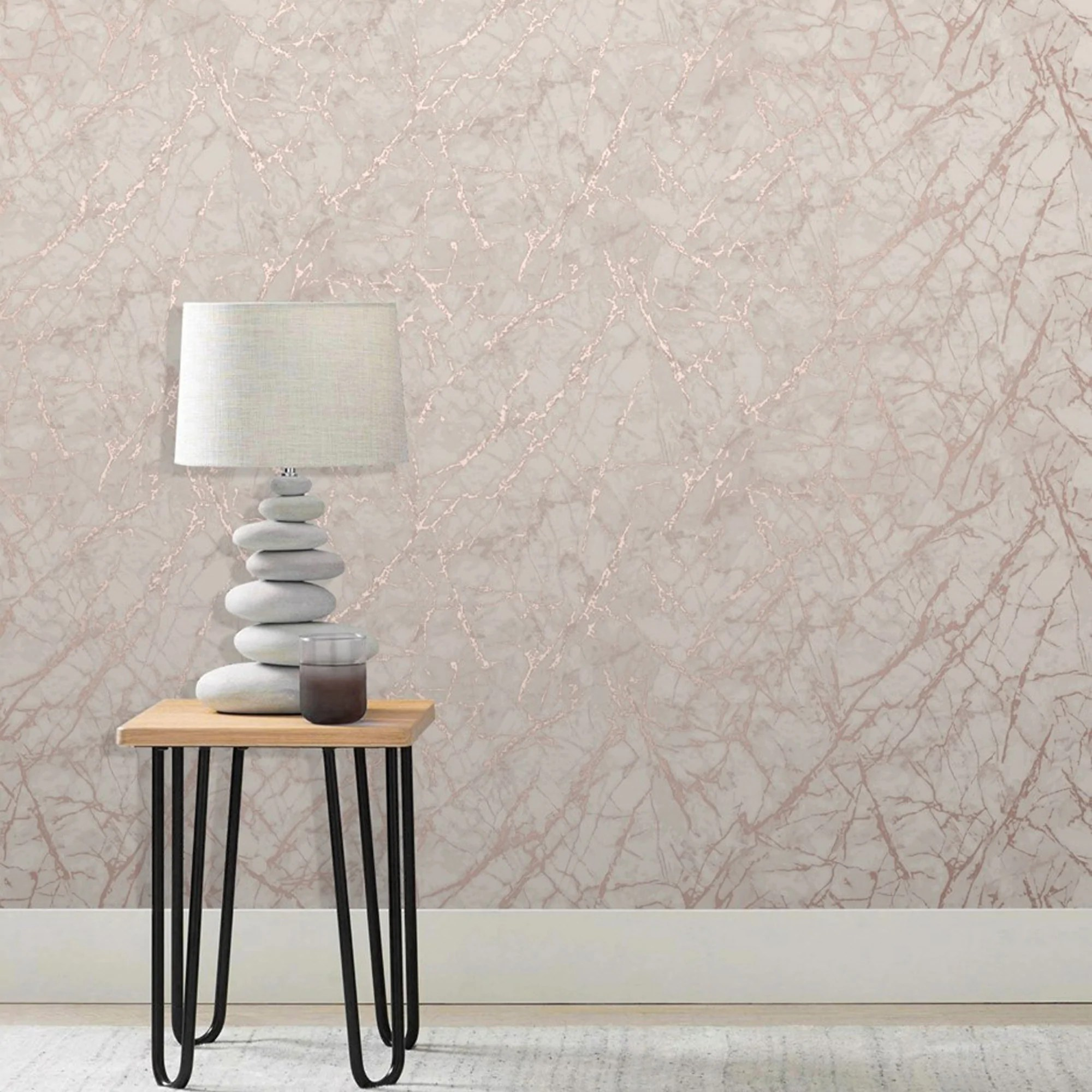 Marble Metallic Effect Wallpaper  Rose Gold  Cream