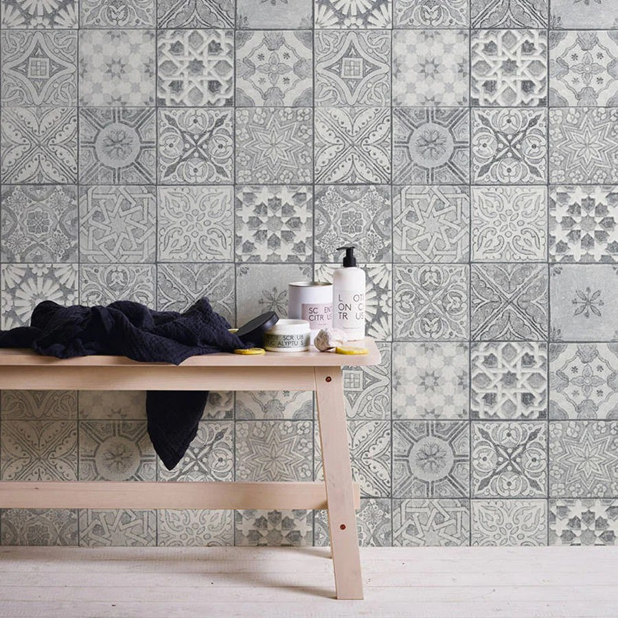 MoroccanCroatian Style Tile Effect Wallpaper Grey Amp White Your 4 Walls