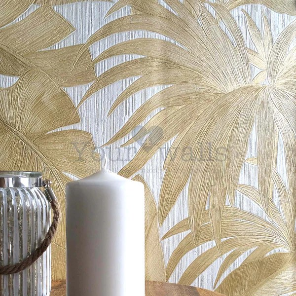Versace Palm Leaf Designer LeafTree Wallpaper Gold Amp Pearl White Your 4 Walls