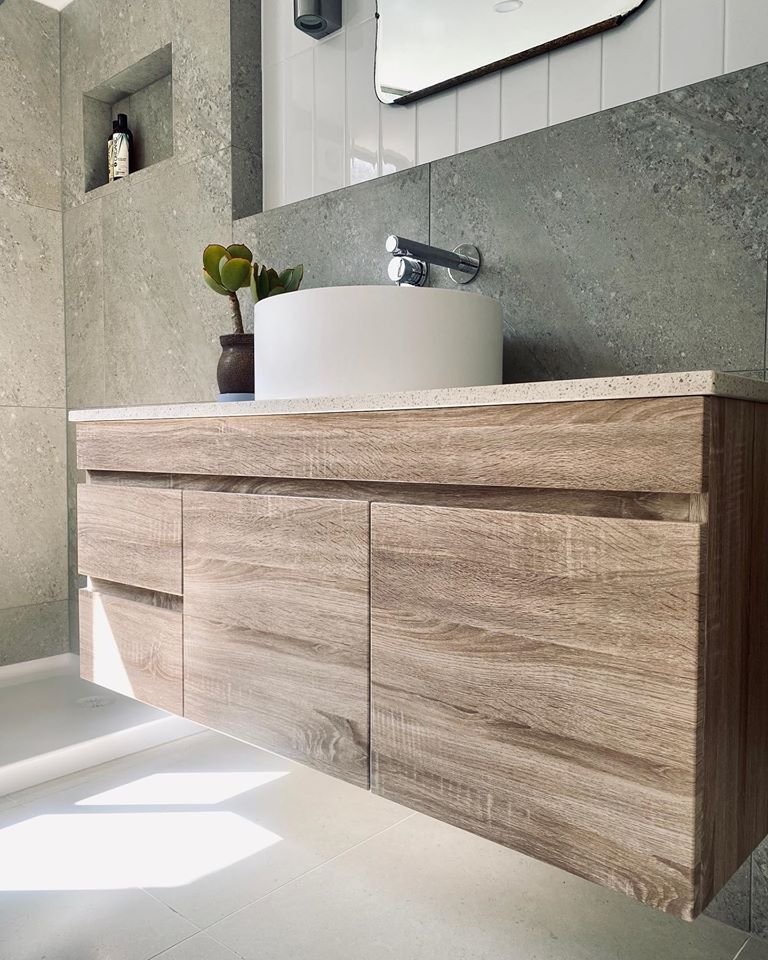 oslo white oak wall hung floating bathroom vanity right side drawers pvc vacuum filmed cabinet only 1200 x 450 x 500mm