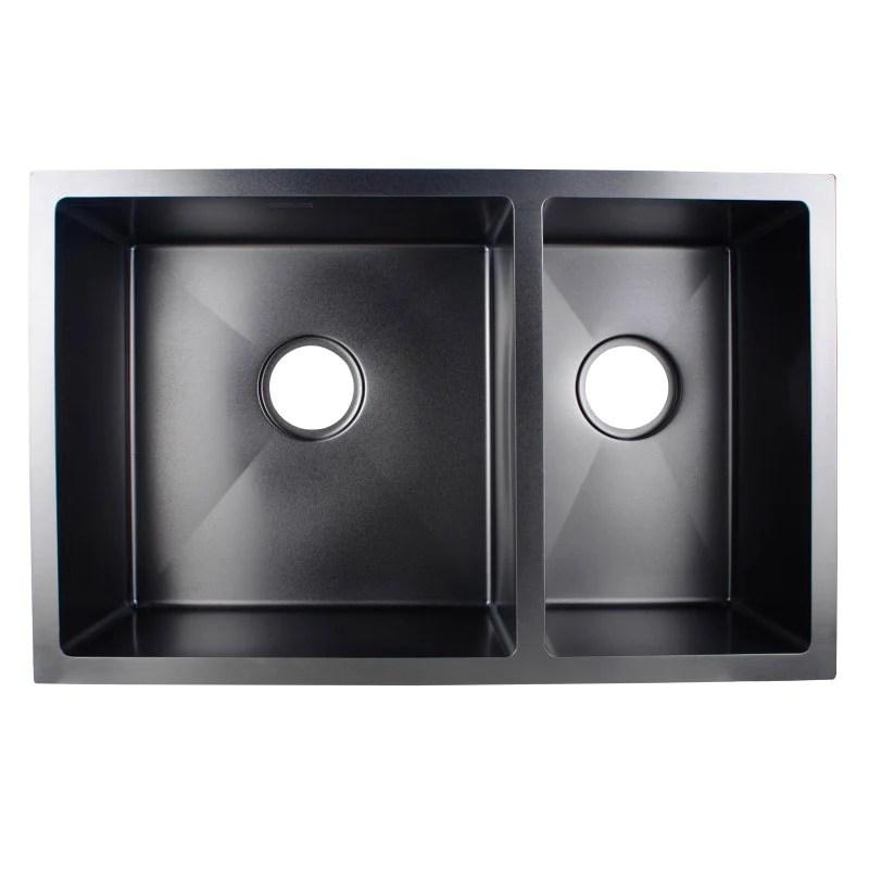asker black stainless steel double bowl top undermount kitchen sink 710x450x205mm