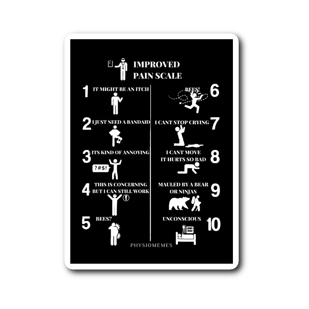 small resolution of improved pain scale sticker