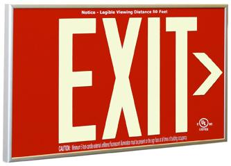 photoluminescent red exit sign