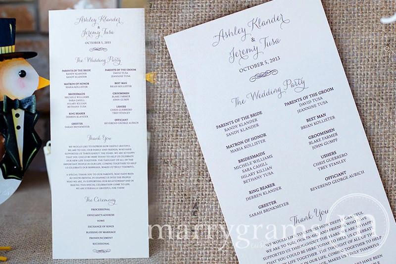 flat wedding program thin