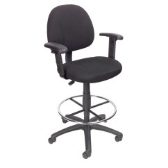 Drafting Chairs With Arms Windsor Dining Chair Boss Stool B315 Bk W Footring Adjustable