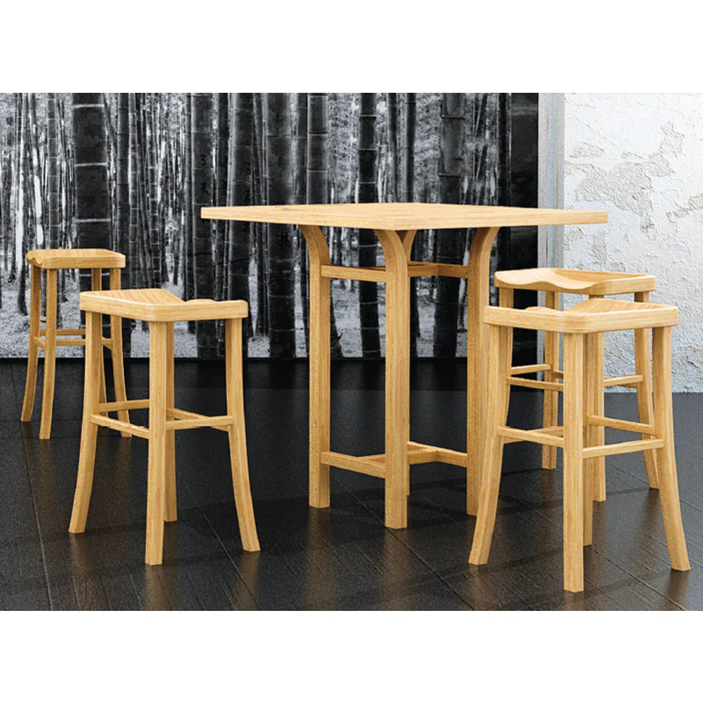 Bar Height Table And Chairs Greenington Tulip 5 Piece Bar Height Table Set In Classic Bamboo