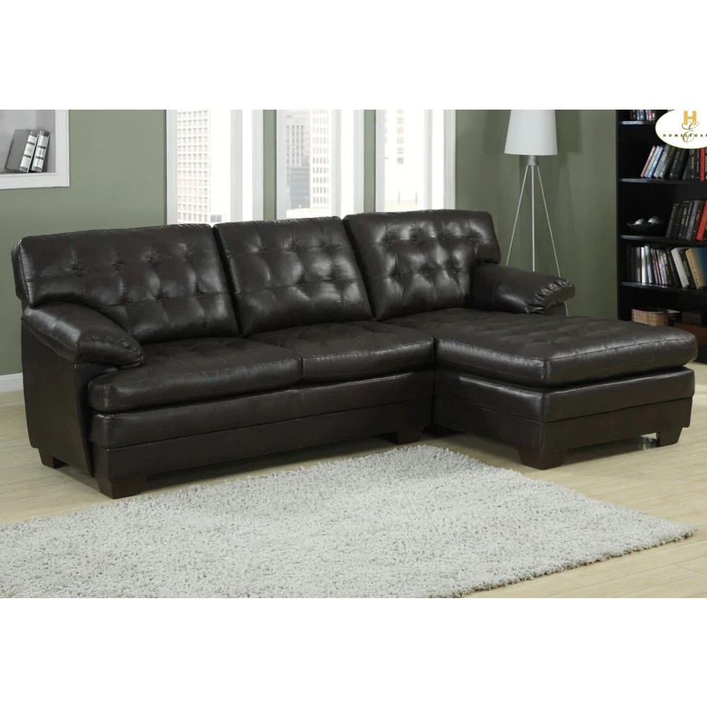 2 piece brown leather sofa online set india homelegance brooks sectional in rich dark