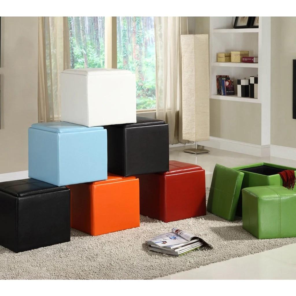 Homelegance Ladd Storage Cube Ottoman In Bi Cast Vinyl