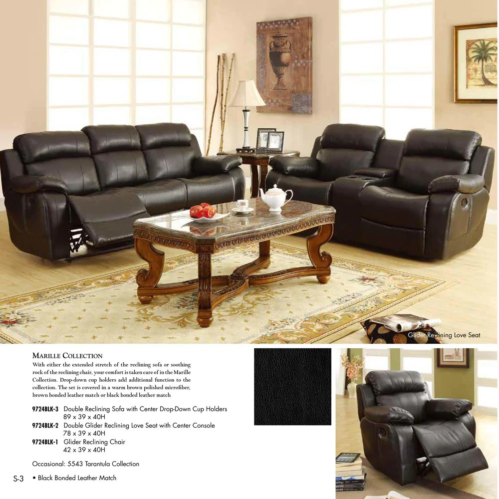 3 piece black leather living room set silver mirrors for homelegance marille reclining in