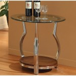 Homelegance Wells Round Glass End Table W Chrome Legs Beyond Stores