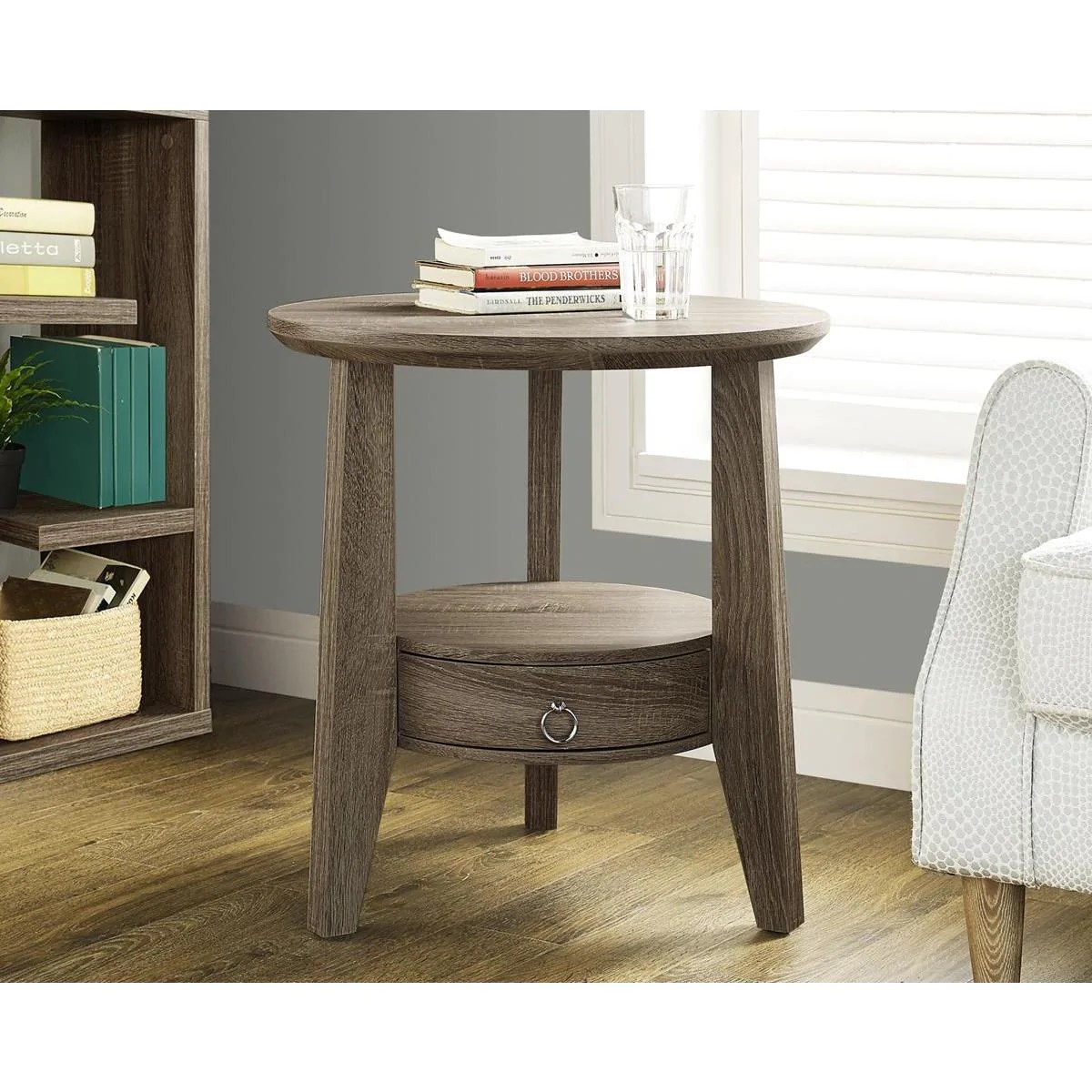 monarch specialties mirrored 38 sofa console table with drawers bridgewater style dark taupe reclaimed look accent