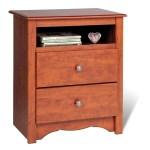 Prepac Monterey Cherry 23 Inch 2 Drawer Tall Nightstand W Open Cubbie