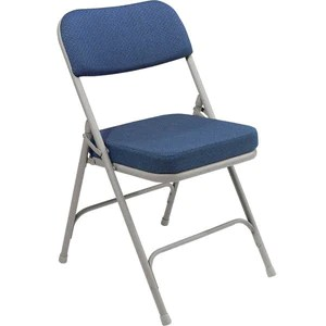 blue metal folding chairs ikea antilop high chair gray with 2 regal fabric padded seat