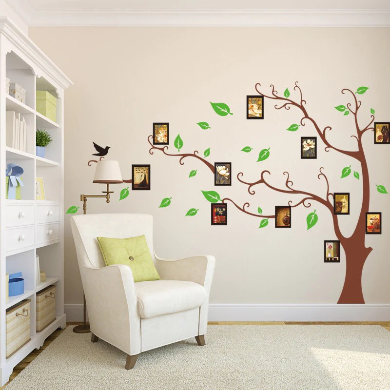 wall stickers living room chocolate brown and turquoise ideas family tree photo frame bird sticker bedroom decal