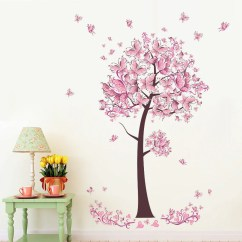 Wall Stickers Living Room Rooms Set Tree Flower Floral Butterflies Decals Bedroom Sofa Background Decor Mural