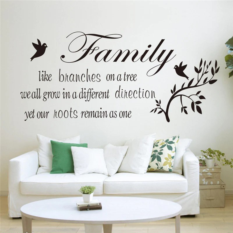 living room tree new york style family like branches on the quotes wall stickers indoor art decor diy