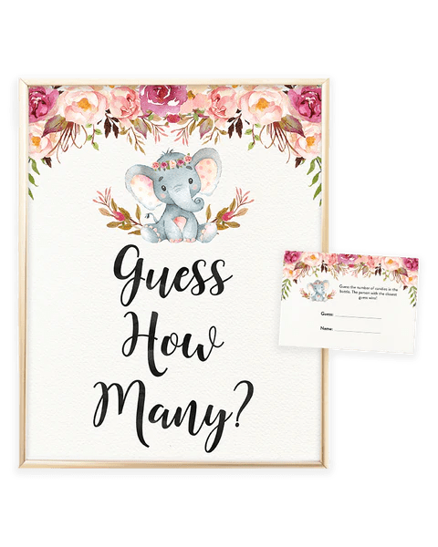 Elephant Baby Shower Game Candy Guessing Game Let S