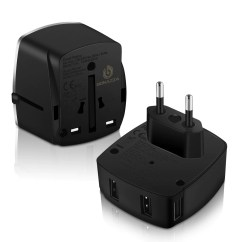 Plug Power Q2 6 Volt To 12 Conversion Wiring Diagram Bonazza Universal World Travel Adapter W 4 Fast Charging Usb Port 3 A 1 C International Plugs Adaptor For Us Au Asia Europe