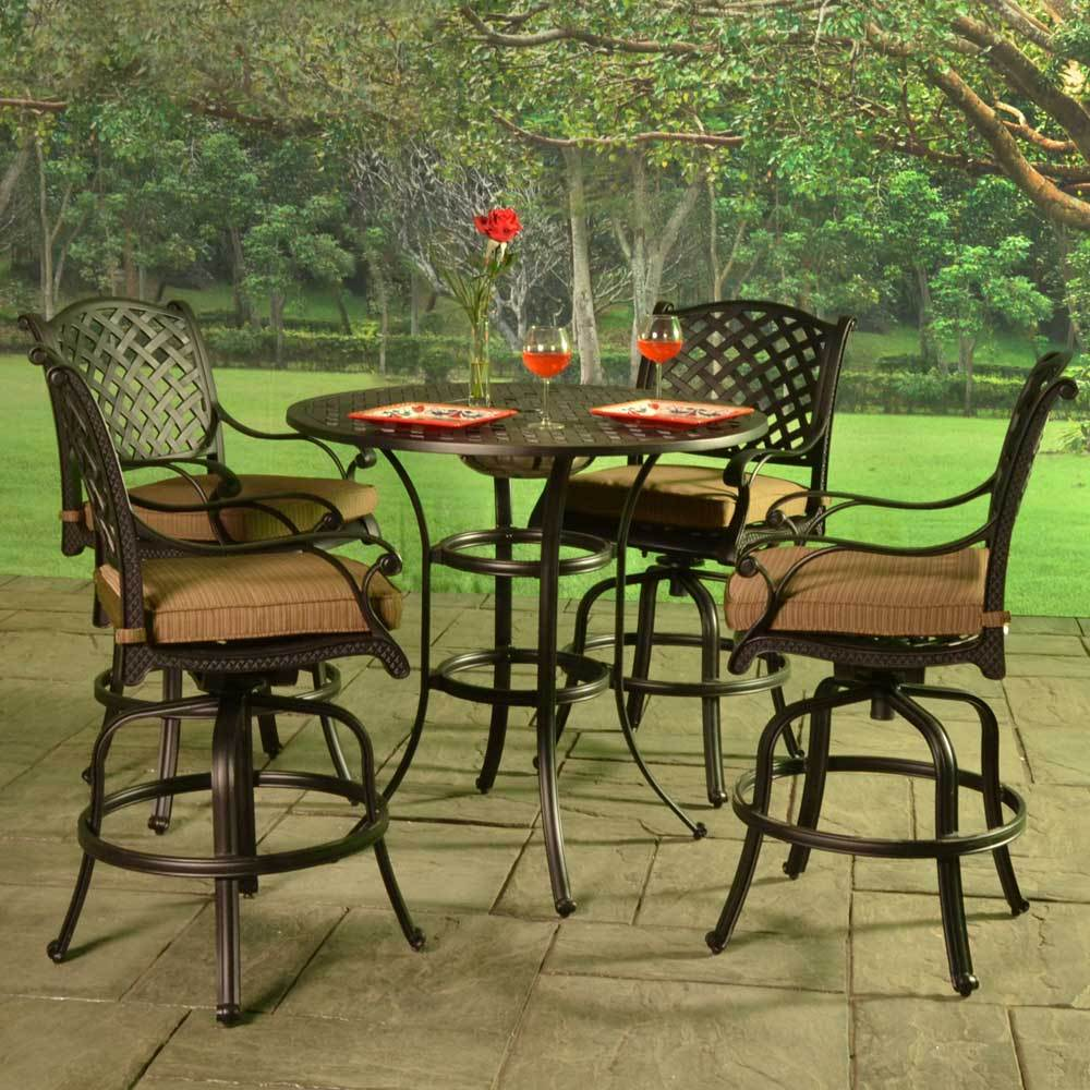 Stonegate Cast Aluminum Cushioned Bar Height Patio Set