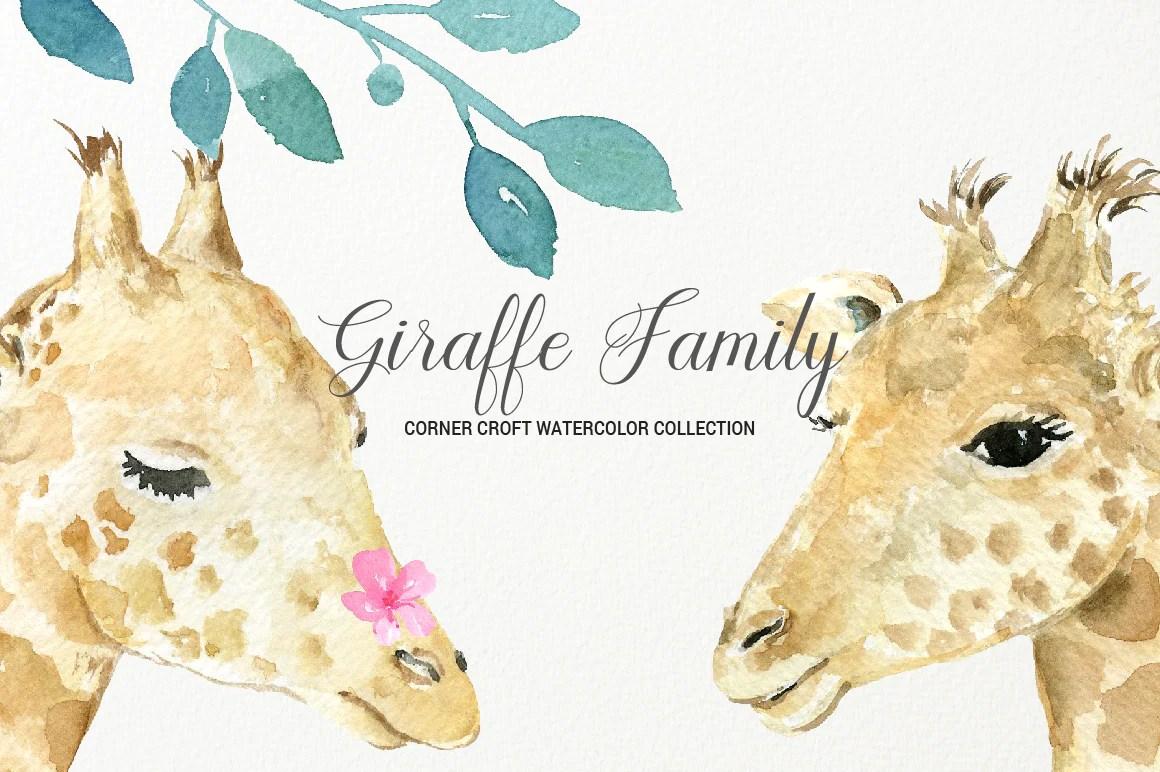 medium resolution of giraffe clipart watercolor giraffe family giraffe portrait download corner croft