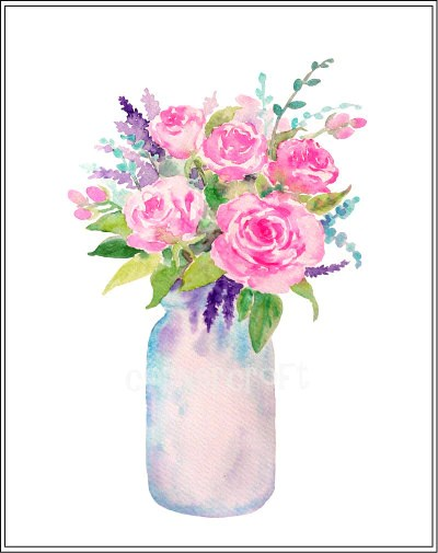 Watercolour Vase Of Flowers Mason Jar Flowers Watercolor Clipart In Corner Croft