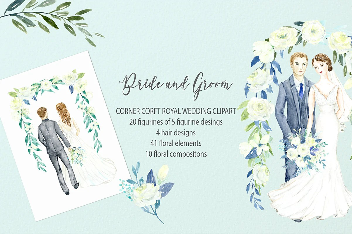 watercolor clipart bride and groom figurine wedding portrait clipart corner croft [ 1202 x 800 Pixel ]
