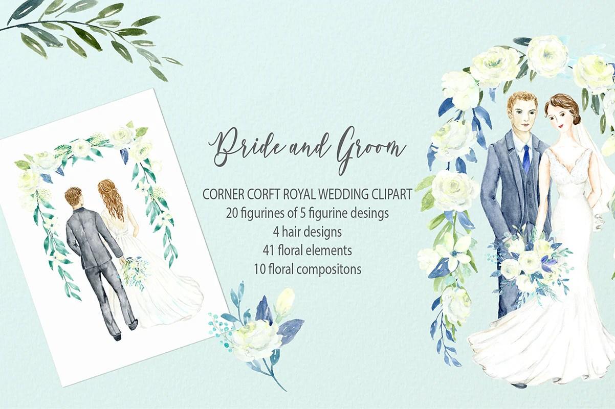 hight resolution of watercolor clipart bride and groom figurine wedding portrait clipart corner croft