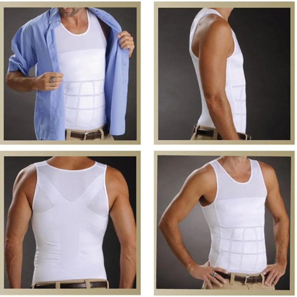 Men's Undershirt to Hide Belly Compression Chest Stomach ...