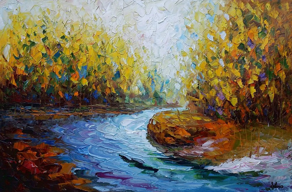 landscape art autumn river abstract