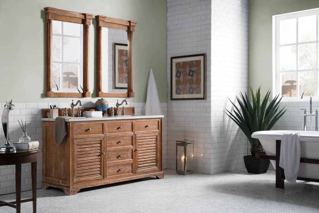 60 Savannah Driftwood Double Sink Bathroom Vanity