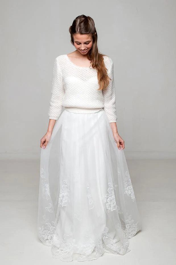 Braut Pullover ELLY im Lacemuster gestrickt fr Boho