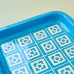 Large Blue Painted Geometric Serving Tray Made In India Friendsnyc