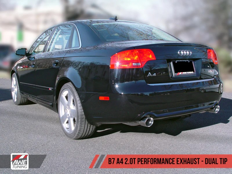 awe tuning b7 a4 2 0t quattro dual tip performance exhaust for tiptronic cars polished silver tips