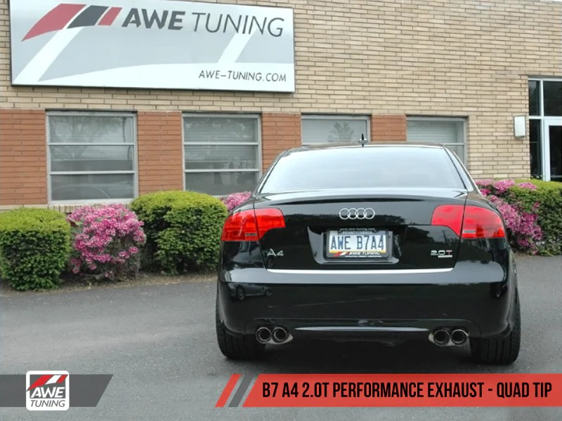 awe tuning b7 a4 2 0t quattro quad tip performance exhaust for tiptronic cars polished silver tips