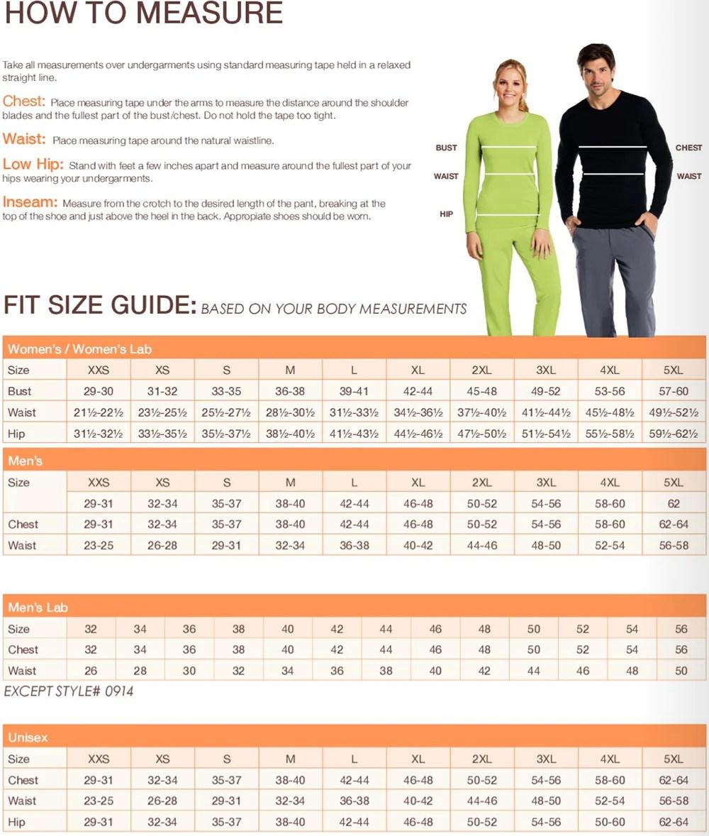 Barco scrubs size chart also charts lydiasuniforms rh