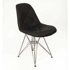 Black Dining Room Chairs With Chrome Legs Big Lots Chair And Ottoman Mid Century Modern Padded