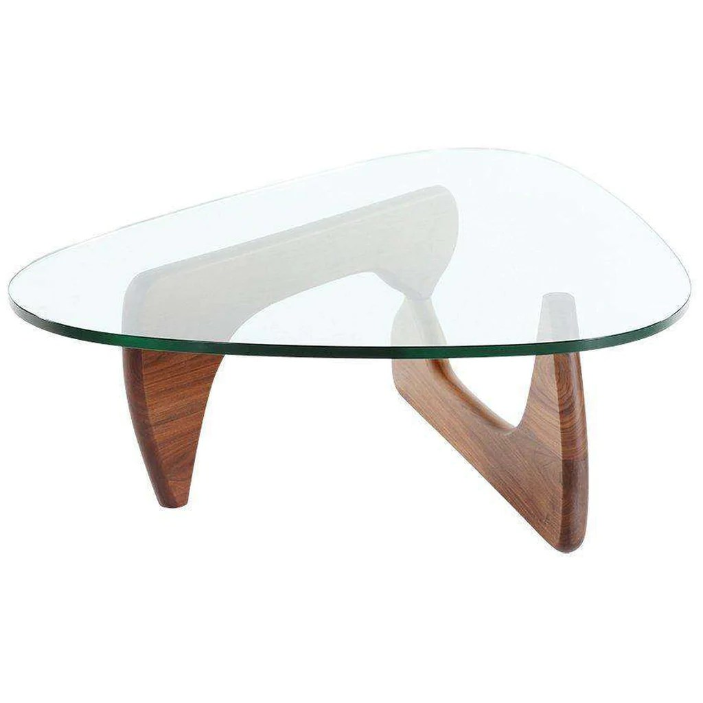 mid century triangle glass coffee table