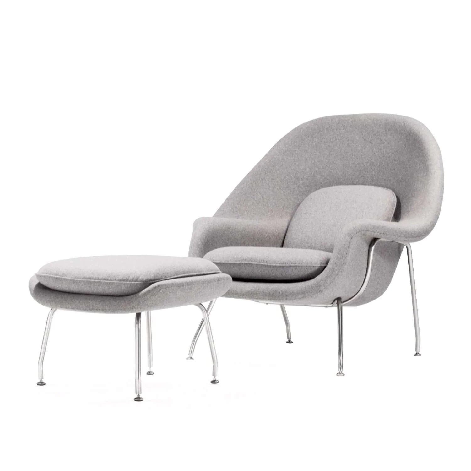 light grey chair electric for stairs mid century modern reproduction womb with wheat wool and ottoman